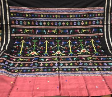 Bird motifs Ganjam bomkai inspired Silk Saree with Blouse piece