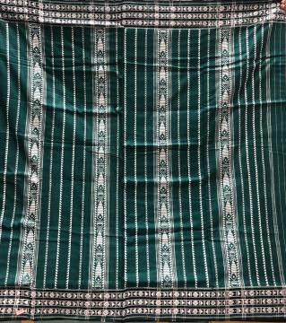 Green full body King Habaspuri cotton Saree with Blouse Piece