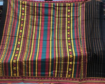 Black and red Dongria Cotton Saree with Blouse Piece
