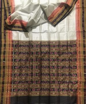 Body checks Khandua Silk Sachipar Saree without blouse piece