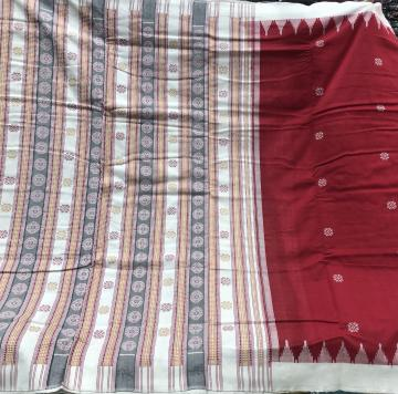 Phoda kumbha border flower motifs bomkai Ikat work Thick cotton samabalpuri Saree with blouse piece