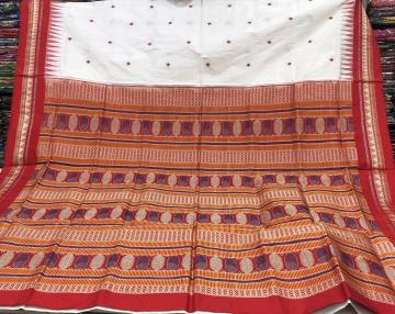White and Red Dongria Silk Sares with Blouse Piece