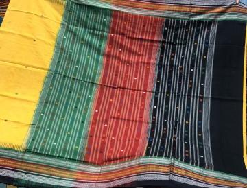 Triple border Yellow kathiphera Cotton Saree