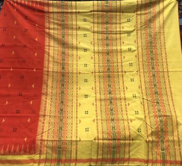 Phoda kumbha border Cotton Sambalpuri Saree with Blouse Piece