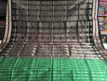 Green black hazarbuti silk sarees with blouse piece