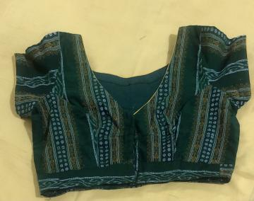 Fish motifs and butis Cotton V neck Blouse with lining