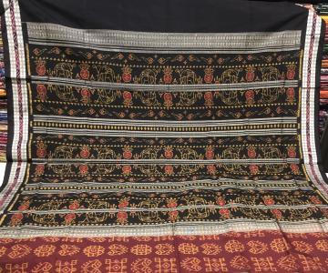 Laxmi Pooja theme Intricately woven Ikat Silk Saree with Blouse Piece