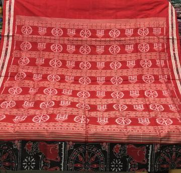 Exquisite Temple chakra And lion motifs Ikat Silk Saree with Blouse Piece