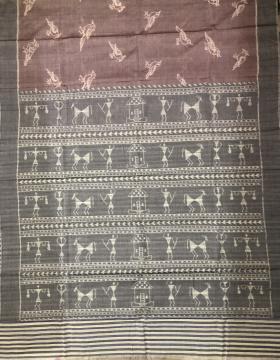 Bird motifs body with tribal Aanchal cotton Ikat Nuapatana Saree with Blouse Piece