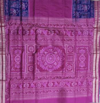 Elephant and lotus motifs border with checks body Ikat Silk Saree with blouse piece