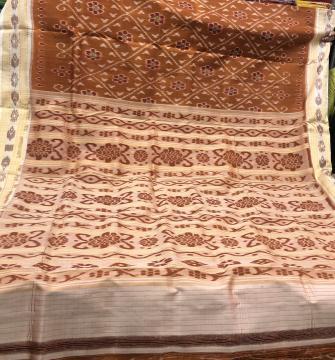 Flower motifs all over Ikat work Khandua Silk Saree without Blouse Piece