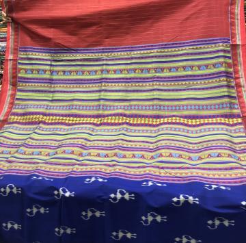 Tribal motifs body Khandua Silk Dongria Saree with Blouse Piece