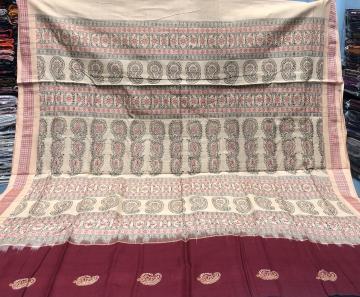 Paisley Motifs Traditional Cotton Bomkai Saree with Blouse Piece