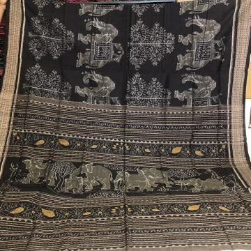 Intricately woven elephant and tree motifs Cotton Ikat Saree with Blouse Piece
