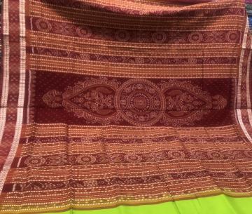Pasapalli border with traditional Aanchal Ikat Silk Saree with Blouse Piece
