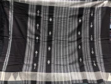 Fish motifs dark brown thick cotton Kotpad saree