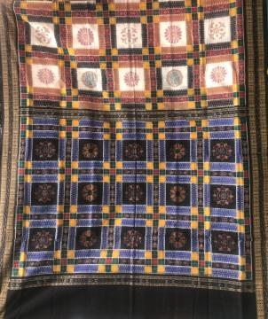 Intricately woven fish border double Ikat  Traditional Utkallaxmi Cotton Saree with Blouse Piece