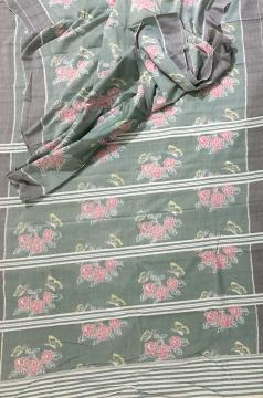 Intricately woven Butterflies on Roses theme cotton Ikat Saree with Blouse Piece