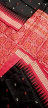All over buti Traditional Bomkai Silk Saree with Blouse Piece