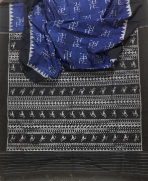 Swastik motifs all over body Cotton Ikat Saree without Blouse Piece