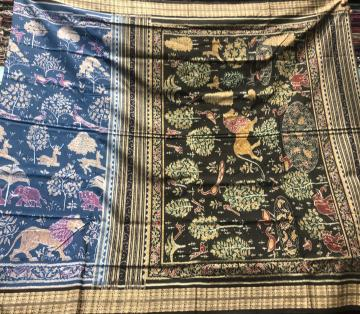 Master weaver s creation Intricately woven Jungle Theme cotton Ikat sarees with Blouse piece