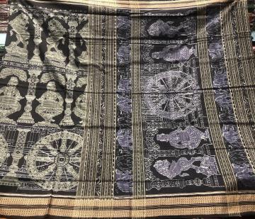 Master weaver s Creation Temple sculpture theme Cotton Ikat Saree with Blouse Piece