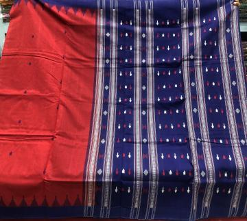 Red and Blue Combination fish motifs Cotton Sambalpuri Saree with Blouse Piece