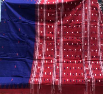 Phoda kumbha border fish and turtle motifs Cotton Sambalpuri Saree with Blouse Piece