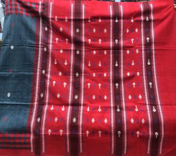 Checks border fish motifs Cotton Sambalpuri Saree with Blouse Piece