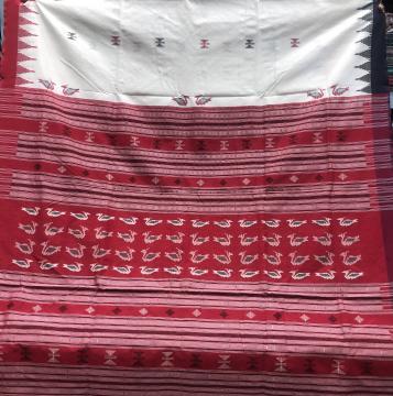 Red and Blue Ganga Jamuna Border Bird motifs Aanchal Cotton Sambalpuri Saree with Blouse Piece