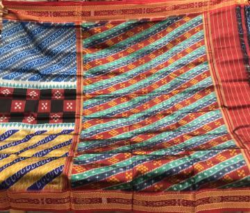 Multicoloured All over Ikat Weave Khandua Silk Saree without blouse Piece