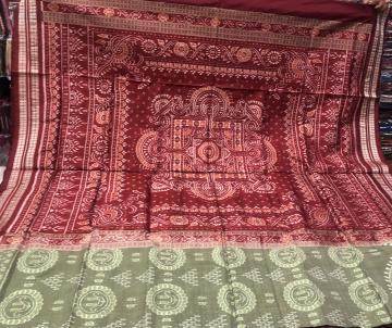Laxmi feet motifs with jhoti aanchal Ikat Silk Saree with Blouse piece