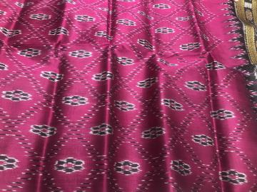 Flower motifs Ikat weave Traditional Khandua Silk Saree without Blouse Piece