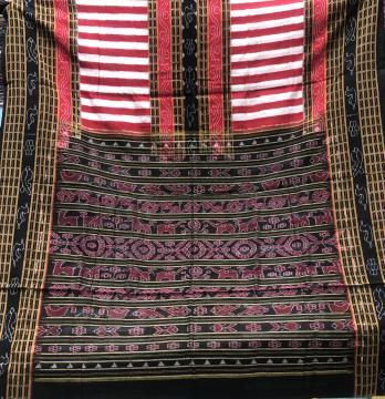 Bichitrapuri Pattern Traditional Aanchal Cotton Ikat Saree with Blouse piece
