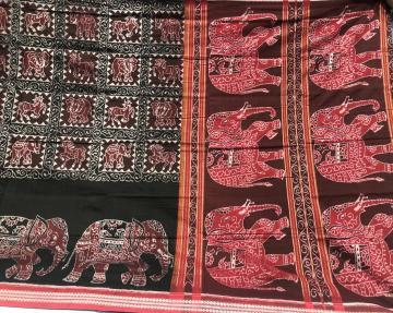 Intricately woven beautiful Elephant motifs Cotton Ikat Saree with Blouse Piece