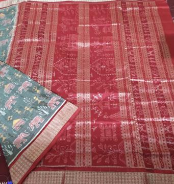 Elephant and tribal Motifs Ikat Silk Saree with Blouse Piece