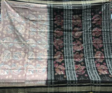 All over fish motifs cotton Ikat Saree with Blouse piece