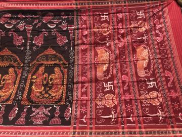 Marriage theme Cotton Ikat Saree with blouse piece