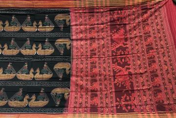 Boita Boat theme Cotton Ikat Saree with Blouse Piece