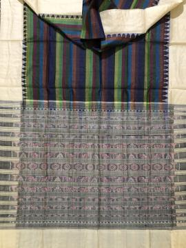 Multicoloured stripes on body with phoda kumbha border traditional Aanchal Tussar saree with Blouse