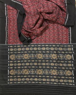 Traditional motif Maroon black Nuapatana Cotton Ikat Saree without Blouse piece
