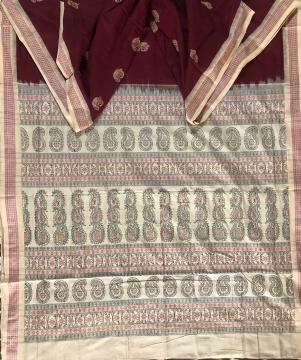 Paisley motifs Cotton Bomkai Saree with Blouse Piece