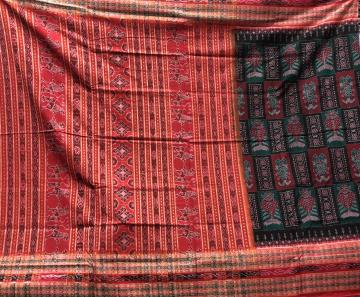 Exclusively woven fish motifs border and body Cotton Ikat saree with Blouse piece
