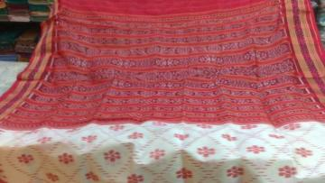 Odisha Handloom Off white - Red Khandua Saree Sari