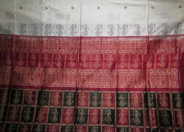 Odisha Handloom Doll Design White Bomkai Saree