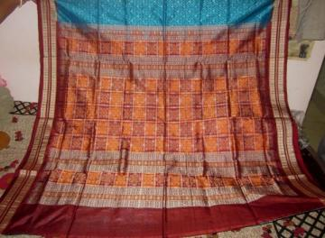 Odisha Handloom Blue-Maroon Ikat Body and Bomkai Aanchal Patli Saree Sari