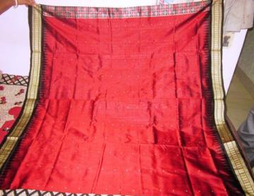 Odisha handloom Maroon - Black Patli Bomkai Saree Sari