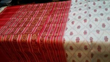 Orissa Handloom Offwhite - Red Khandua Silk Saree Sari