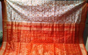 Orissa Handloom White - Orange Pasapalli Saree with Blouse Piece