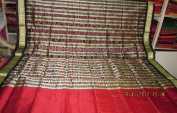 Odisha Handloom Traditional Motif Ikat Saree in Maroon Black